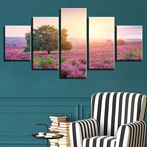 YXAZXR Canvas Print Paintings Modular Wall Art 5 Pieces Sunrise Tree Lavender Hilly Landscape Poster Cuadros Home Decor Pictures