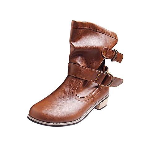 Logobeing Botines Mujer Tacon Medio Planos Invierno Tacon Ancho Piel Planas Botines Hebilla Casual Zapatos de