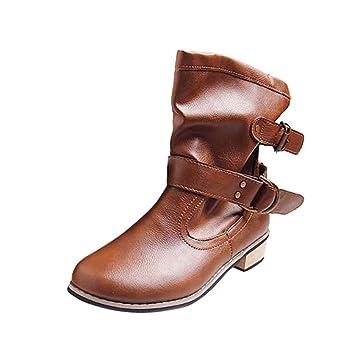 Logobeing Botines Mujer Tacon Medio Planos Invierno Tacon Ancho Piel Planas Botines Hebilla Casual Zapatos de Tacón Bajo Altas Boots Plataforma Zapatos ...