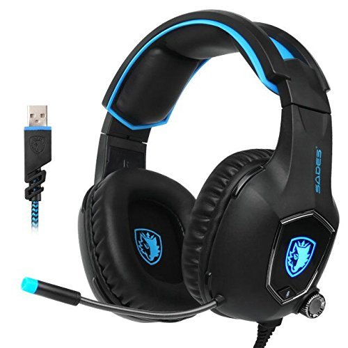 SADES R13 USB Gaming headset 2017 New Update Gaming Headset USB Wired PC Gaming Headset Over Ear Gaming Headphones with Mic Revolution Volume Control Noise Canceling LED Light PC Mac(BlackBlue) by SADES