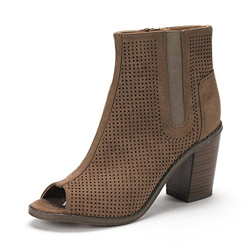 Reuters Taupe Peep Toe Ankle Booties Shoes - 7 M US ()