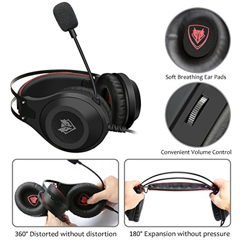 Computer Headsets, ELEGIANT Over-Ear Gaming Headphones with Microphone, Bass Stereo Surround Sound Volume Control, Compatible with PS4 Pro/PS4 Xbox One Nintendo Switch PC Mobilephone Laptop Mac-Black by ELEGIANT (Image #5)