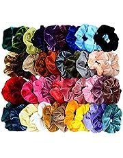 Mincheda 40 Pcs Hair Scrunchies Premium Velvet Elastic Scrunchie Hair Ties Hair Bow Chiffon Ponytail Holder Scrunchy Hair Accessories for Women Girls-40 Colors Premium Velvet
