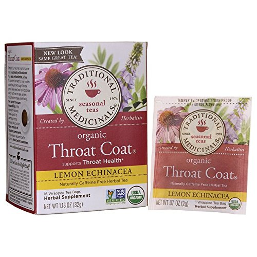 Traditional Medicinals Organic Lemon Echinacea Throat Coat Herbal Tea - 16 Tea Bags