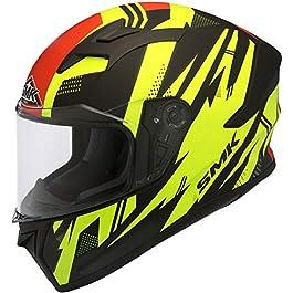 SMK Helmets – Stellar – Trek – Black Yellow Red – Pinlock Anti Fog Lens Fitted Single Clear Visor Full Face Helmet…