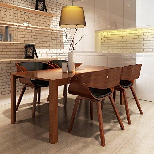 vidaXL 4 x Esszimmer Stuhl Stühle Sessel Esszimmerstühle Holzrahmen braun