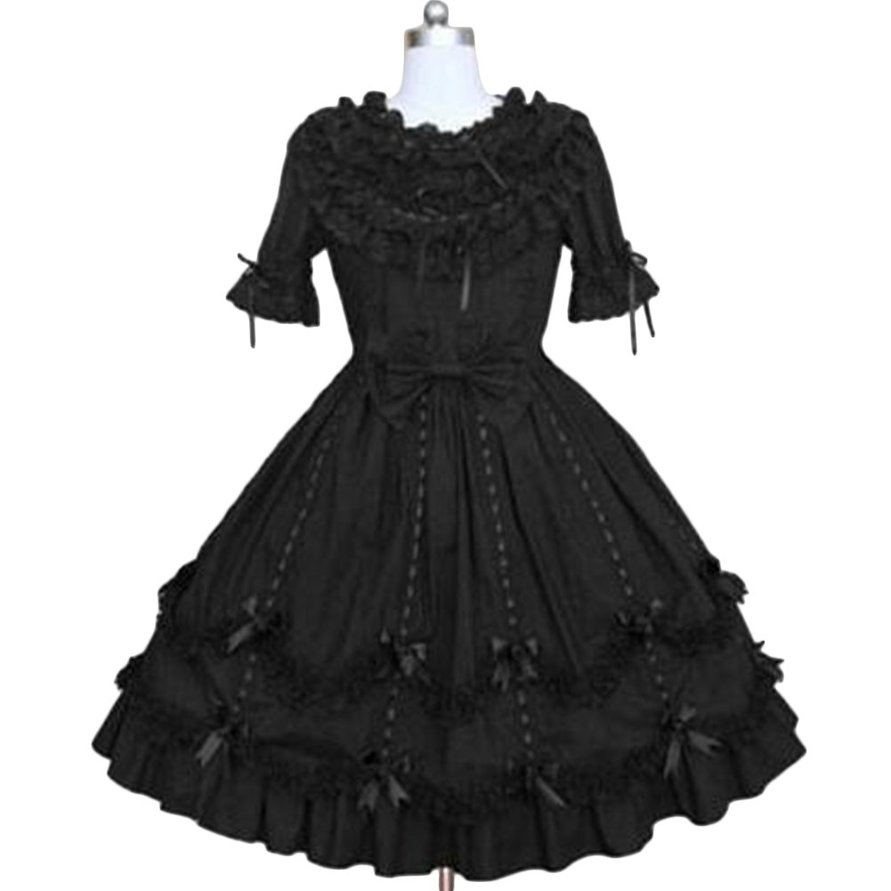 DressVoguer Lolita Dress for Women Classic Black Layered Lace-Up Cotton Short Dress Cupcake Gothic Cosplay Costume Dress by DressVoguer