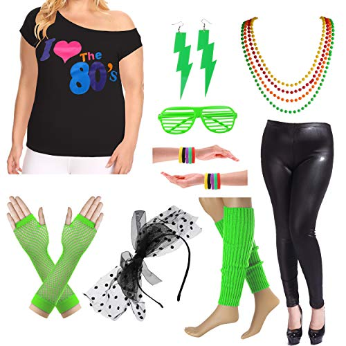 Plus Size 80s Fancy Outfit Costume Set with Leather Leggings for Womens (3X/4X, Green)