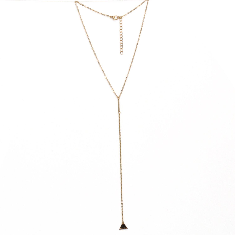 HUAN XUN Rose Gold Charm Lariat Necklace Tiny Pendant Necklace Jewellerygets NL-2324