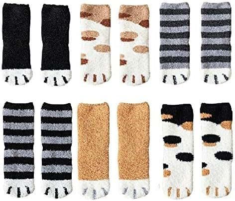 6 Pairs Plush Cozy Slipper Sock Cute Cat Claw Design Sleeping Socks for Winter Indoor Girls Womens