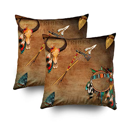 Musesh Pack of 2 Native American Buffalo Skull Arrowhead Indian Cushions Case Throw Pillow Cover for Sofa Home Decorative Pillowslip Gift Ideas Household Pillowcase Zippered Pillow Covers ()