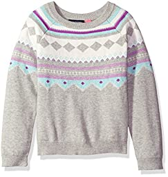 The Children\'s Place Girls\' Big Girls\' Fair Isle Pullover Sweater, Gray, L (10/12)
