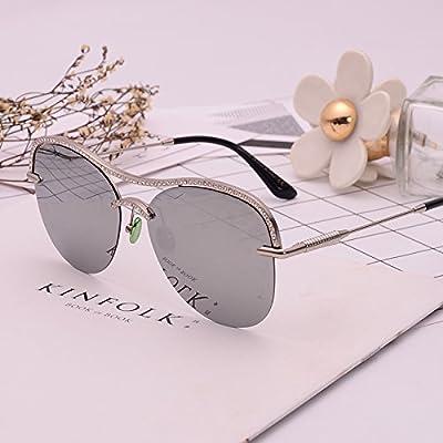 LXKMTYJ Panneau exquis Lunettes optiques Offset Diamond Multimedia Film Rétro lunettes de soleil rose d'argent de l'eau, crapaud