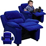 Winston Direct Kids' Series Deluxe Padded Contemporary Blue Microfiber Recliner with Storage Arms