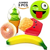 ice cream cart for adults - Jumbo Squishies Slow Rising Squishy Toys 5 Pcs Scented-Banana French Fries Ice Cream Donut Emoji Kawaii Charms Fruit Toy for Kids Adult Stress Reliever Party Decorations