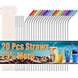 Metal Straws Stainless Steel Straws Set of 20 Reusable Drinking Straws with 20 Silicone Tips 5 Straw Cleaning Brush 1 Travel Case Ultra Long Metal Straws Fit for 20 24 30 oz Yeti Tervis Rtic Tumbler