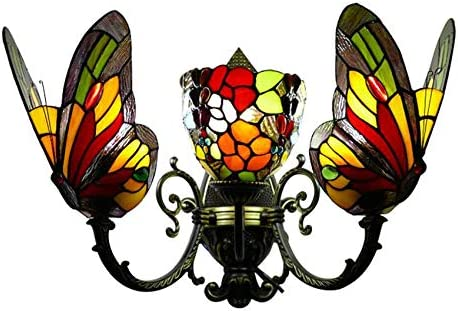 LITFAD Triple Head Butterfly Sconce Tiffany Style Lighting Online limited product Stain Max 74% OFF