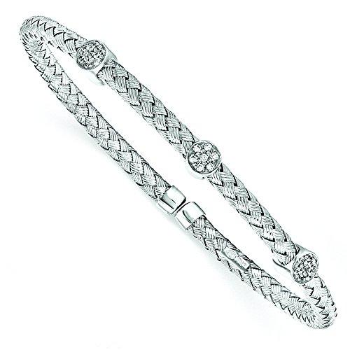 Argent Sterling poli Rhodium plaqué CZ torsadée Bracelet manchette-JewelryWeb