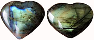 Gemgogo 2 Pcs Natural Labradorite Irregular Carved Heart Love Palm Crystals and Healing Stones Room Decor(1.49-1.8 inchs)