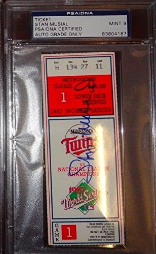 Stan Musial Autographed Signed Memorabilia 1987 World Series Game 1 Ticket PSA/DNA 9 Twins Vs Cardinals