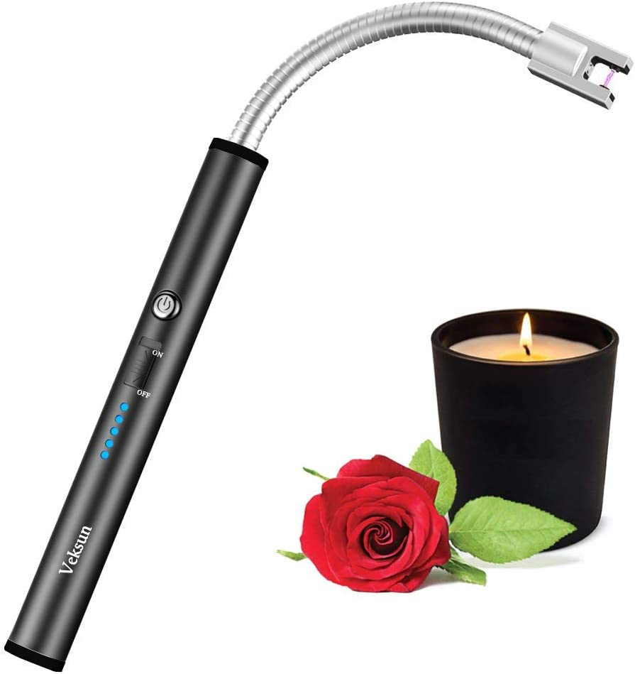 Lighter, VEKSUN Flexible Plasma Arc Long Neck USB Lighter Rechargeable Windproof Flameless for Candles, Grill, Cooking, Camping, Hiking(Exc. Candle)