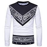 Mens T Shirts Clearance Sale vermers Men's Autumn African Print Long Sleeve Round Collar Sweatshirts Top Blouse(M, White)