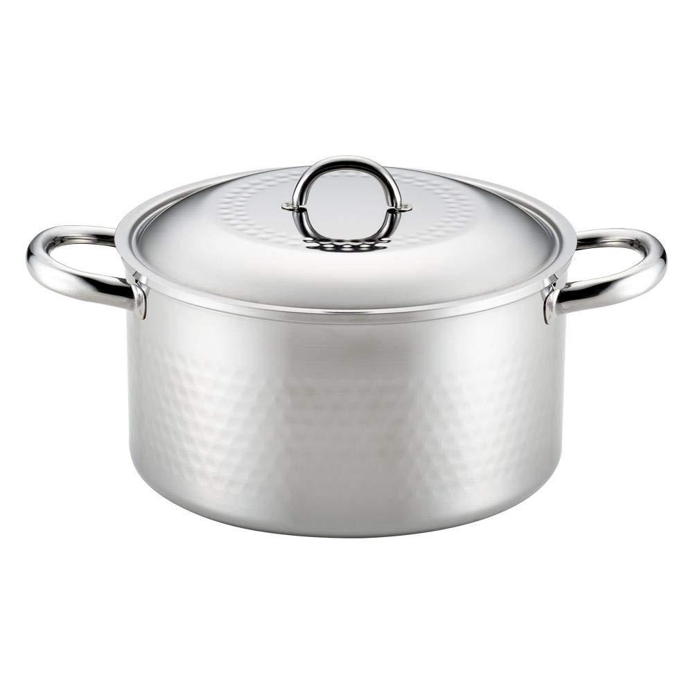 丈夫なオールステンレス製の両手鍋です。 ステンレス槌目鍋 両手鍋 22cm SJ2360 〈簡易梱包   B07RN34P6T