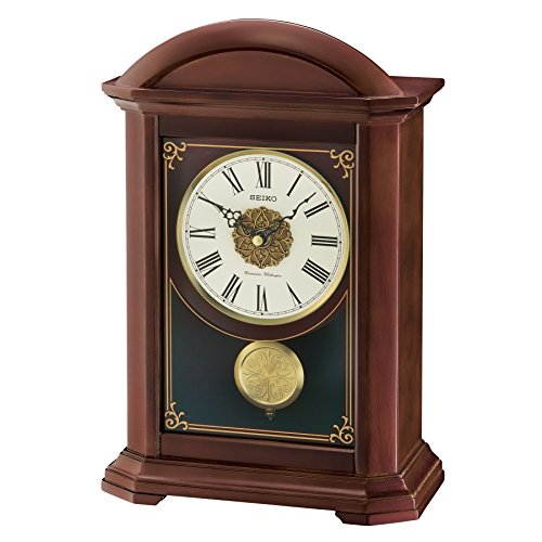 Seiko Wood Shelf Clock (Model: QXQ030BLH) Wood Mantle Clock