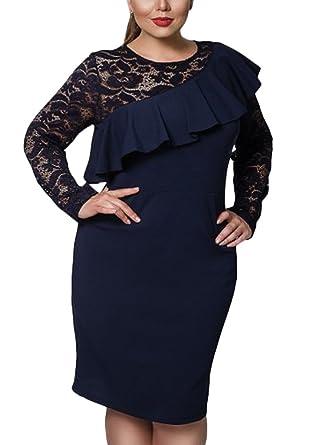 Romacci Women Plus Size Dress Lace O-Neck Pencil Party Dress Ladies Ruffle Bodycon Slim