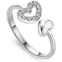Leisial™ Anello a Forma di Anello Regolabile a Forma di Cuore Anelli Aperti Anelli di Diamanti Bianchi Fatti a Mano Degli Accessori di Monili delle Donne Anello di Diamante
