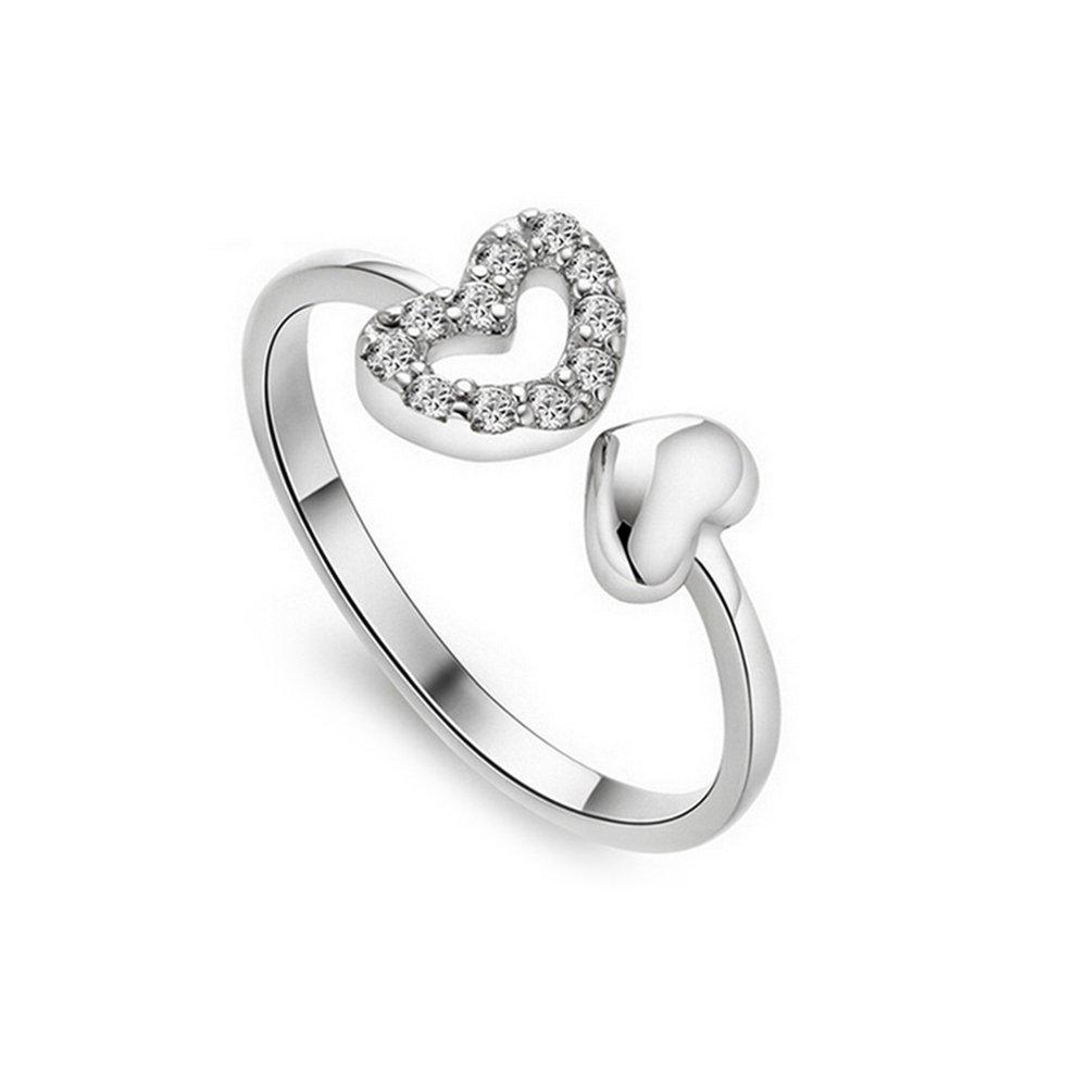 Leisial™ Anello a Forma di Anello Regolabile a Forma di Cuore Anelli Aperti Anelli di Diamanti Bianchi Fatti a Mano Degli Accessori di Monili delle Donne Anello di Diamante (C)