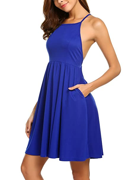 e4d99b90bd36 Sherosa Women s Sleeveless Halter Neck Flared Mini Dress with Pockets (XS