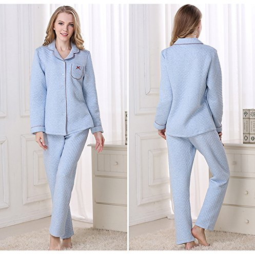 Sunshine Fashion Simple Autumn and Winter Cotton Interlayer Warmly Pajamas bedgown Long Sleeved Nightgown Sleepwear Set by Sunshine (Image #3)