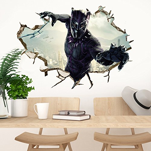 Black Panther Wall Decal Cartoon 3D Marvel Wall Stickers Avengers Cartoon for Kids Bedroom Wall Decor 50×70 cm, PVC, Removable
