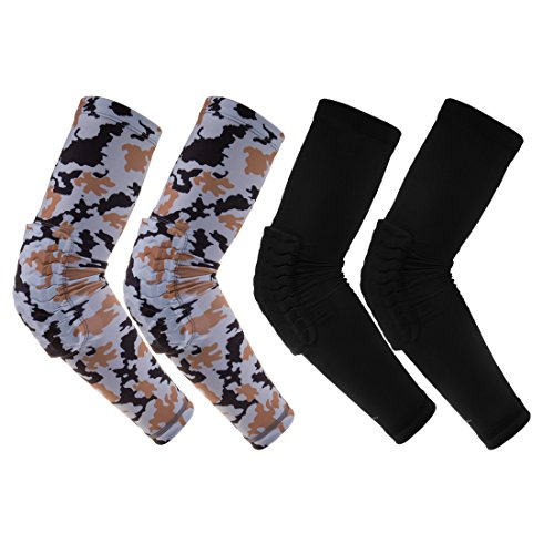 RoryTory 2 Pairs Padded Compression Arm Sleeve Padding Volleyball Elbow Pads Anti Slip Brace Support for Wrestling Basketball Baseball Soccer Tennis Sports UV Protection | Camo & Solid Black - Medium