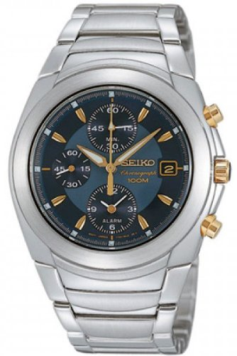 Seiko #SNA423 Men's Stainless Steel Blue Dial Alarm Chronograph Watch by Seiko Watches