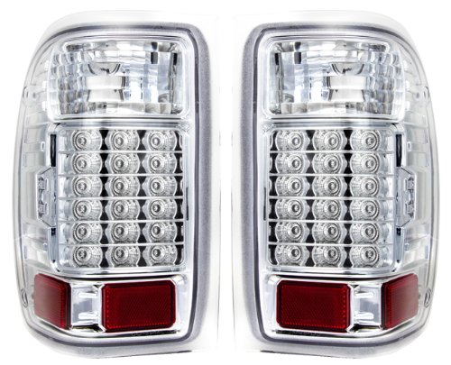 - Replacement Chrome Housing Led Stop Brake Tail Lights Pair For Ford Ranger