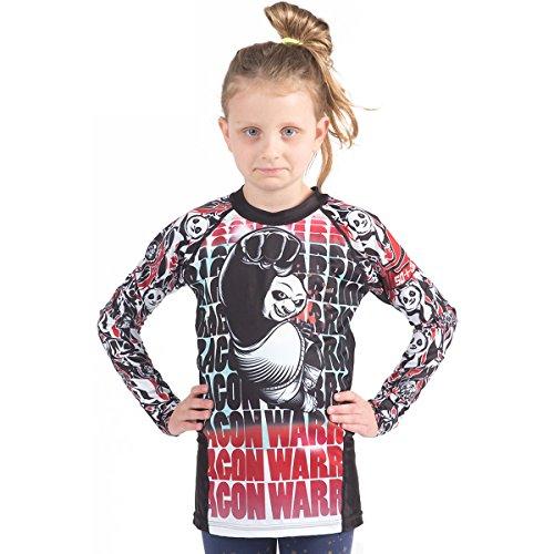 (Fusion Fight Gear Kung Fu Panda Dragon Warrior Kids Rash Guard Compression Shirt - White Long Sleeve (XL))