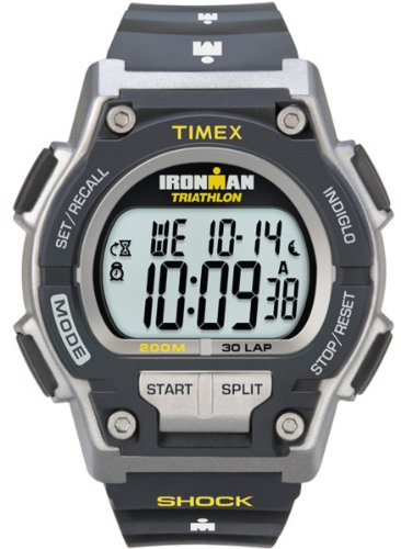 Timex Men's T5K195 Ironman Original 30 Shock Full-Size Black/Yellow Resin Strap Watch