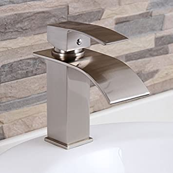 ELITE Modern Bathroom Sink Waterfall Faucet Brushed Nickel Finish 8803BN