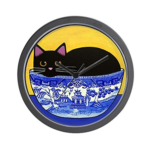 CafePress - Black CAT Blue Willow Bowl Folk ART Wall Clock - Unique Decorative 10