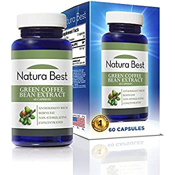 Naturabest Pure Green Coffee Bean Extract - All Natural Weight Loss Supplement, Best Appetite Suppressant, 50% Chlorogenic Acid, 800mg, 60 Capsules