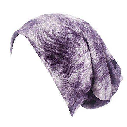 Smallrabbit Cotton Beanie Hats Women Printed Soft Sleeping Cap Turban Headband for Ponytail (Purple)