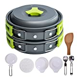 Camping Cookware Mess Kit Backpacking Cookware Hiking Outdoors Campfire Cookware Cooking Utensils Lightweight Compact Durable 11 Pieces Cooking Set with Pot Pan Bowls, Folding Spork, Nylon Bag