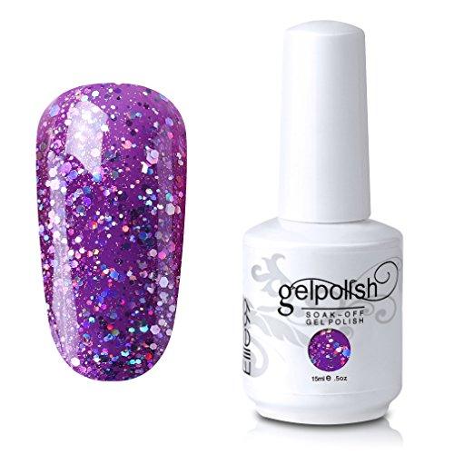 Elite99 Soak-Off UV LED Gel Polish Nail Art Manicure Lacquer Glitter Plum 351 15ml