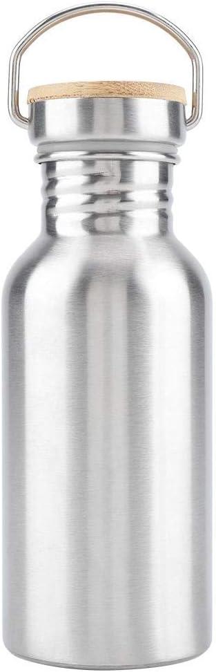 Botella de agua de acero inoxidable, botella de bebida portátil de vidrio para beber al aire libre con tapa de bambú taza de viaje adecuada para ciclistas que realizan caminatas picnic camping