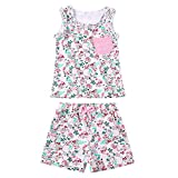 ZHUANNIAN Baby Toddler Girls 2 Piece Shorts Sets Cotton Tank Tops Summer Outifts (White, 4-5t)