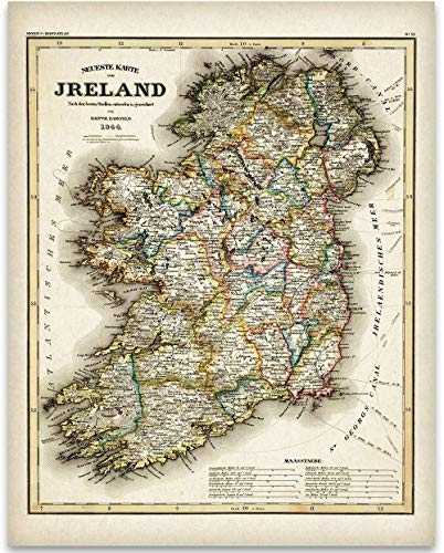 1844 Ireland Map - 11x14 Unframed Art Print - Great Vintage Irish Home Decor Under $15