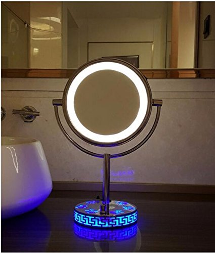 LED Lighted makeup mirror light dressing mirror and rose base mirror table mirror 8-inch Blue rose base