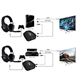 EasySMX 2.4G Optical Wireless Xbox One PS4 PS3 Xbox 360 PC Laptop Tablets Chat Skype MAC Gaming Headset Detachable Mic (A Microsoft Adapter is Needed When Used to Xbox) Black
